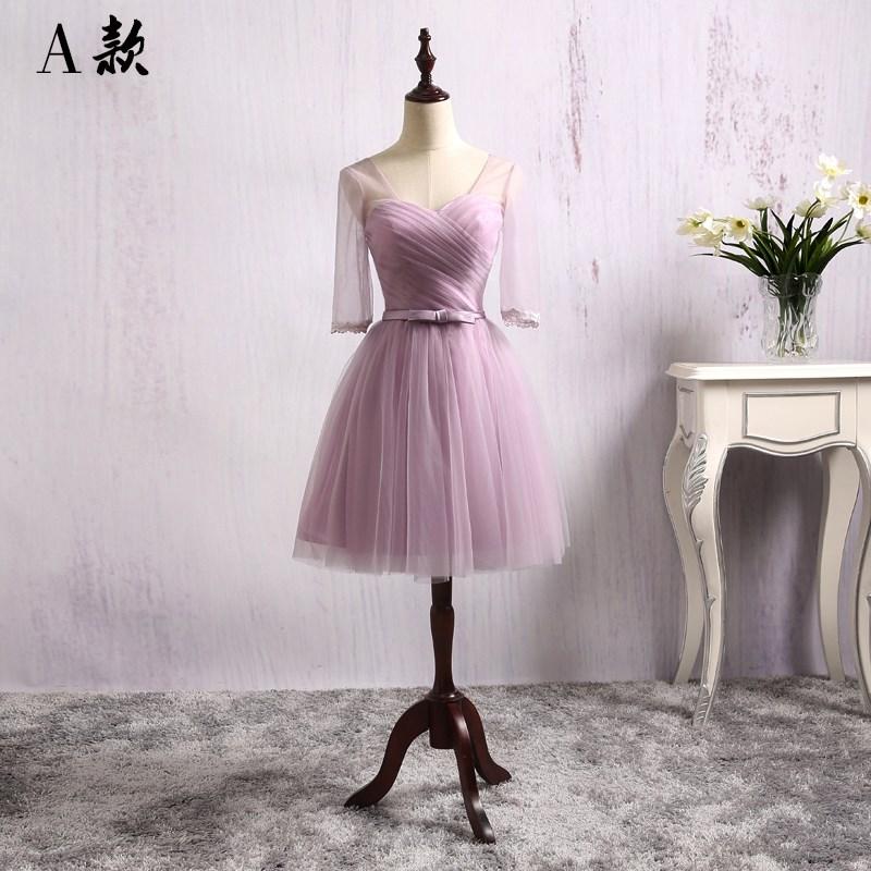 礼服 伴娘服短款2018新款韩式一字肩结婚伴娘团姐妹礼服裙紫色连衣裙夏_推荐淘宝好看的礼服