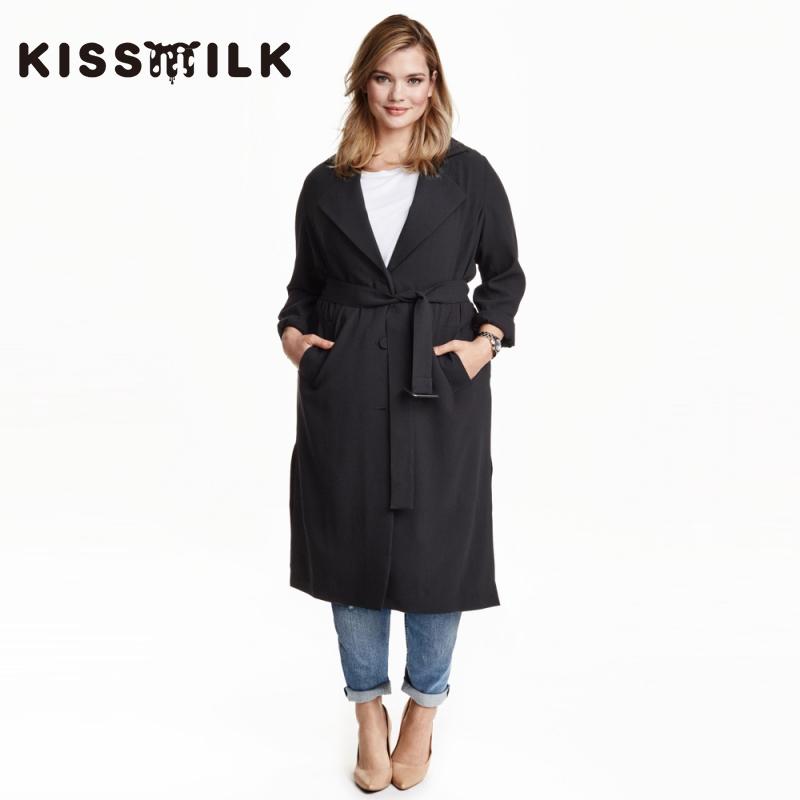 欧美系带风衣 kiss milk2019春季新款 欧美时尚大码女装简约男友风系带风衣外套_推荐淘宝好看的欧美系带风衣