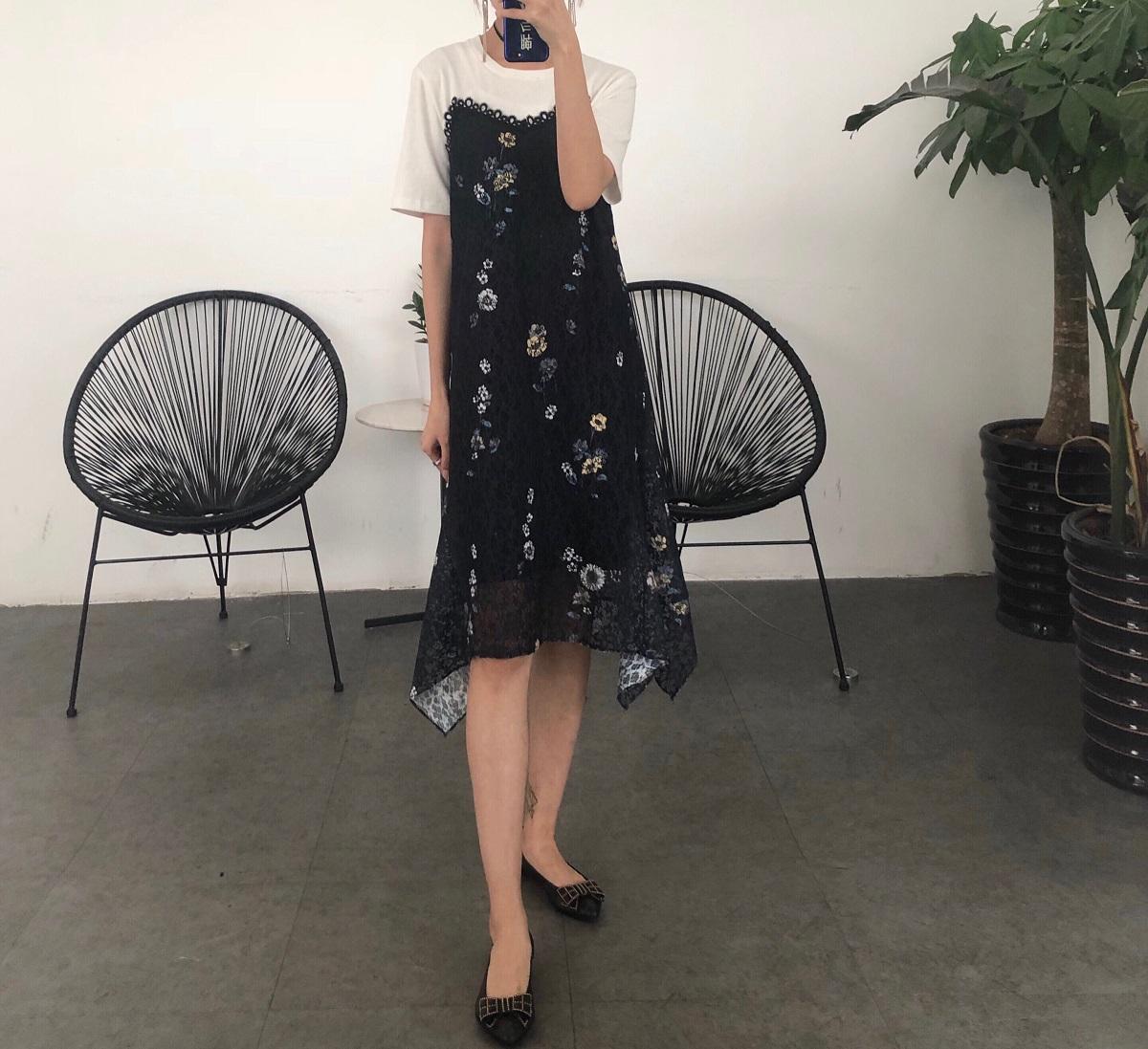 高档连衣裙 蓝白撞色高档蕾丝面料连衣裙_推荐淘宝好看的高档连衣裙
