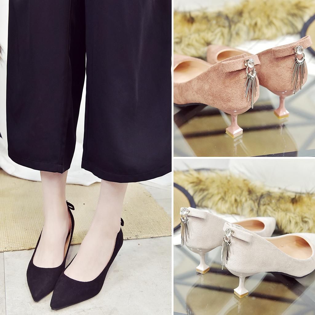 女性高跟鞋 细跟高跟鞋女2018新款春季单鞋女士尖头绒面浅口中跟猫跟鞋一脚蹬_推荐淘宝好看的女高跟鞋
