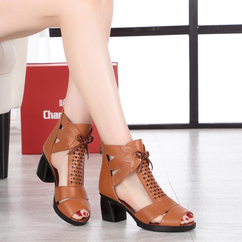 真皮罗马鞋 夏季新款真皮女士罗马凉鞋大码中跟鱼嘴女鞋子粗跟中老年妈妈网靴_推荐淘宝好看的真皮罗马鞋