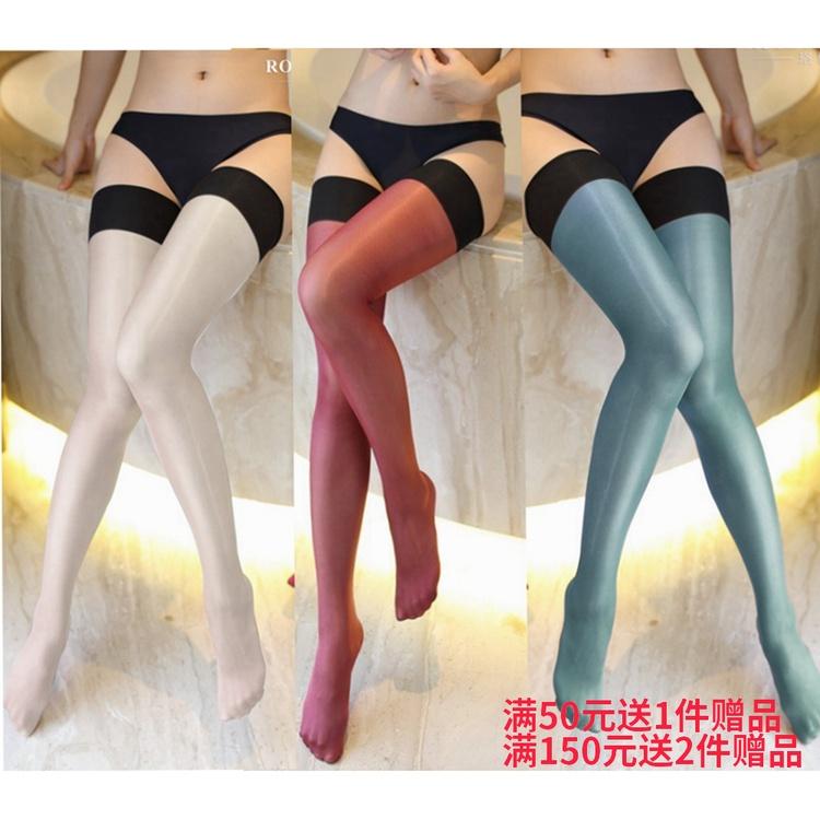 彩色透明丝袜 复古欧美彩色30d长筒袜性感油亮闪光大腿袜连裤袜彩色透明紧丝袜_推荐淘宝好看的彩色透明丝袜