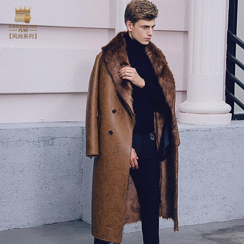男士长款皮衣 冬季2017新款潮加绒皮衣男皮毛一体男装中长款外套大毛领男士皮草_推荐淘宝好看的男长款皮衣