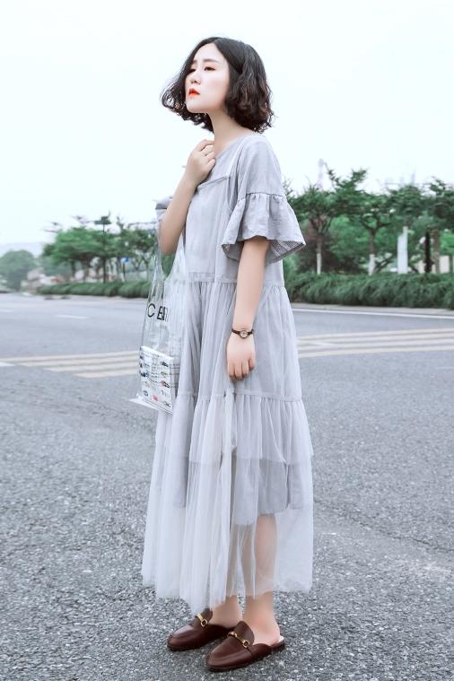 连衣裙 素旧安歌设计感A型宽松纯色纱裙 文艺品质感灰色两件套连衣裙夏_推荐淘宝好看的连衣裙