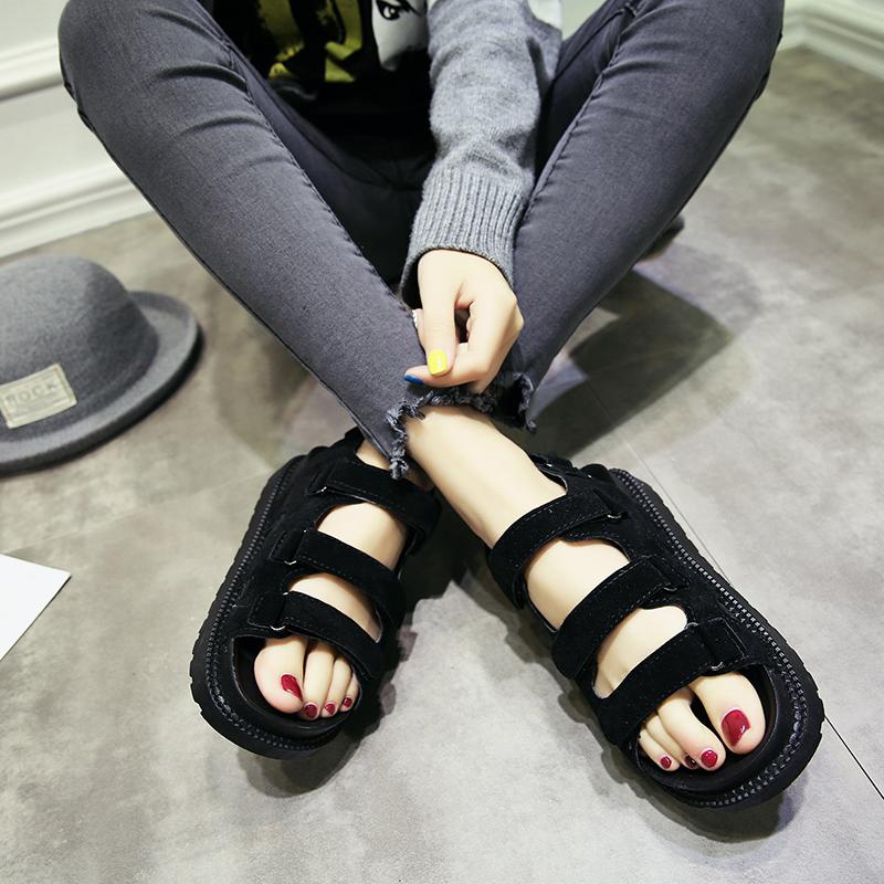 女式平底凉鞋 2018新款夏季凉鞋女韩版魔术贴松糕鞋中跟学生百搭平底厚底沙滩鞋_推荐淘宝好看的女平底凉鞋