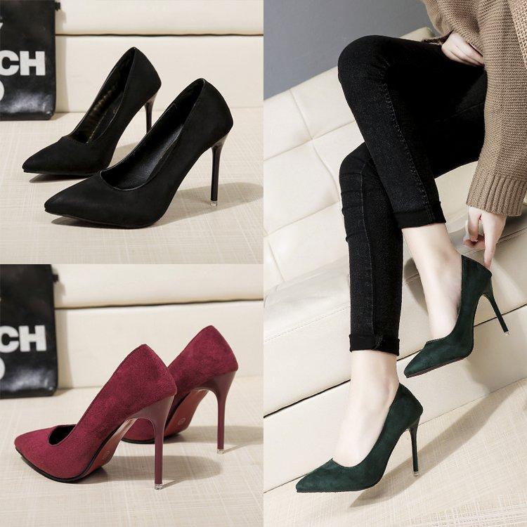 绿色高跟鞋 2018年春季新款性感黑色墨绿色尖头高跟单鞋10cm细跟绒面职业女鞋_推荐淘宝好看的绿色高跟鞋