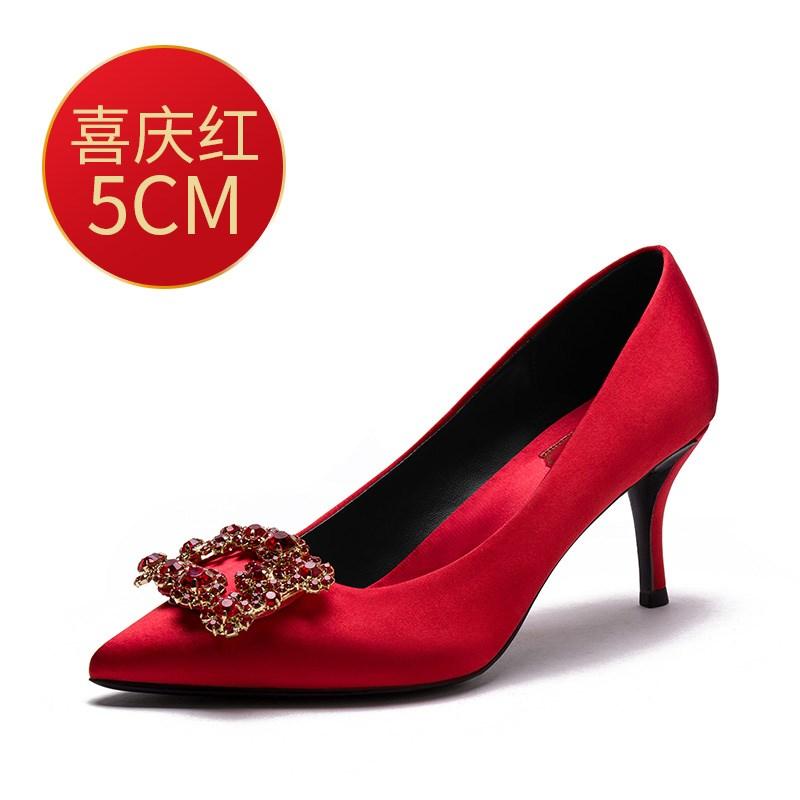 高跟rv鞋子 婚鞋女2018新款rv红色高跟鞋女细跟结婚鞋子新娘鞋水钻方扣伴娘鞋_推荐淘宝好看的高跟rv鞋子