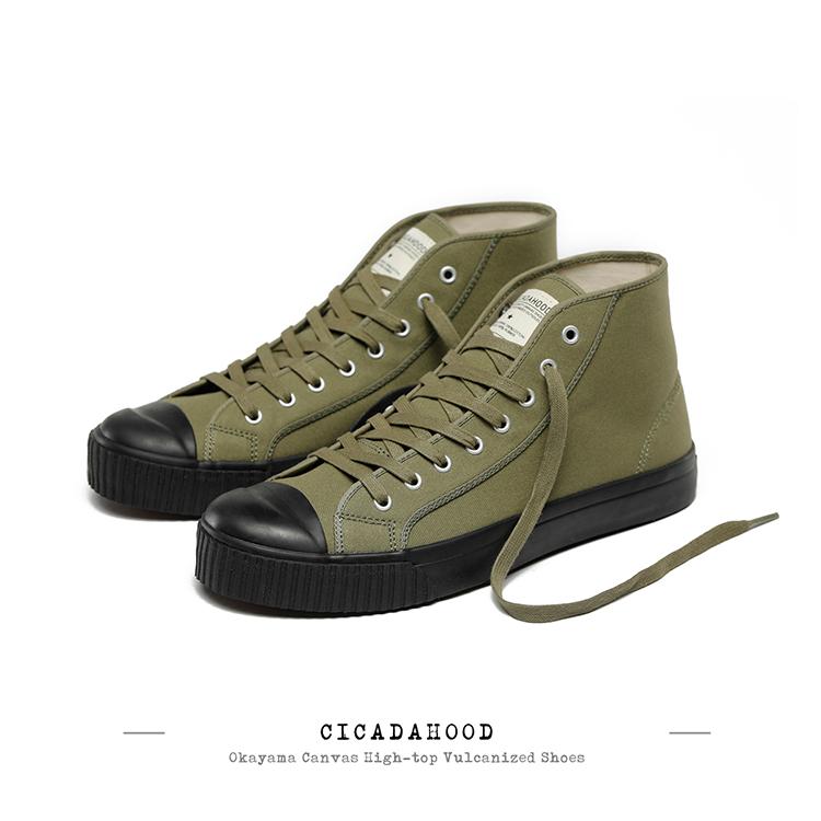 绿色帆布鞋 CICADAHOOD日本冈山帆布高帮硫化鞋 军绿色黑色款帆布鞋解放鞋_推荐淘宝好看的绿色帆布鞋