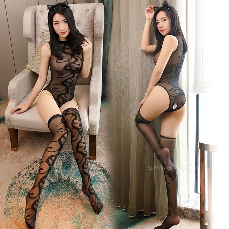 制服丝袜 情趣内衣连体性感开裆透视连身袜制服诱惑提花分体式长筒丝袜套装_推荐淘宝好看的制服丝袜