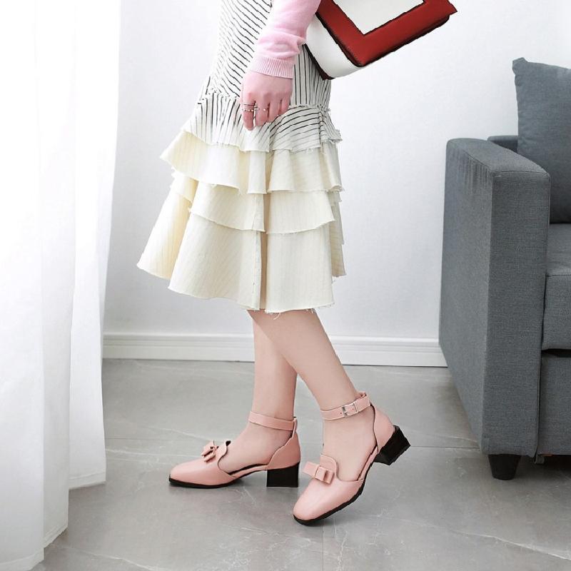 粉红色罗马鞋 女鞋凉鞋2018夏季新款甜美蝴蝶结方头包头罗马鞋黑色粉红色黄色_推荐淘宝好看的粉红色罗马鞋