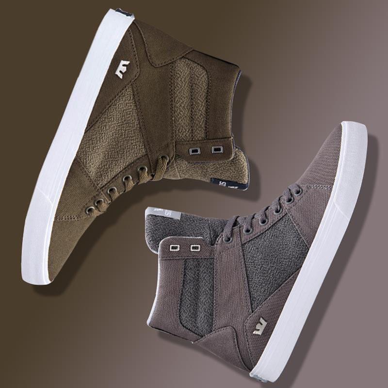 绿色帆布鞋 足迹断码仓 Supra Aluminum 男鞋高帮鞋灰色帆布鞋 军绿色 夏季款_推荐淘宝好看的绿色帆布鞋