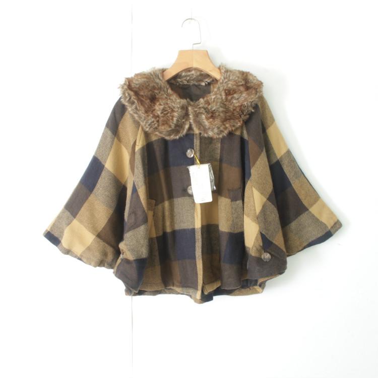 外套 24065女装精品秋季新款日系简约单排纽扣宽松显瘦女格子呢外套_推荐淘宝好看的女外套