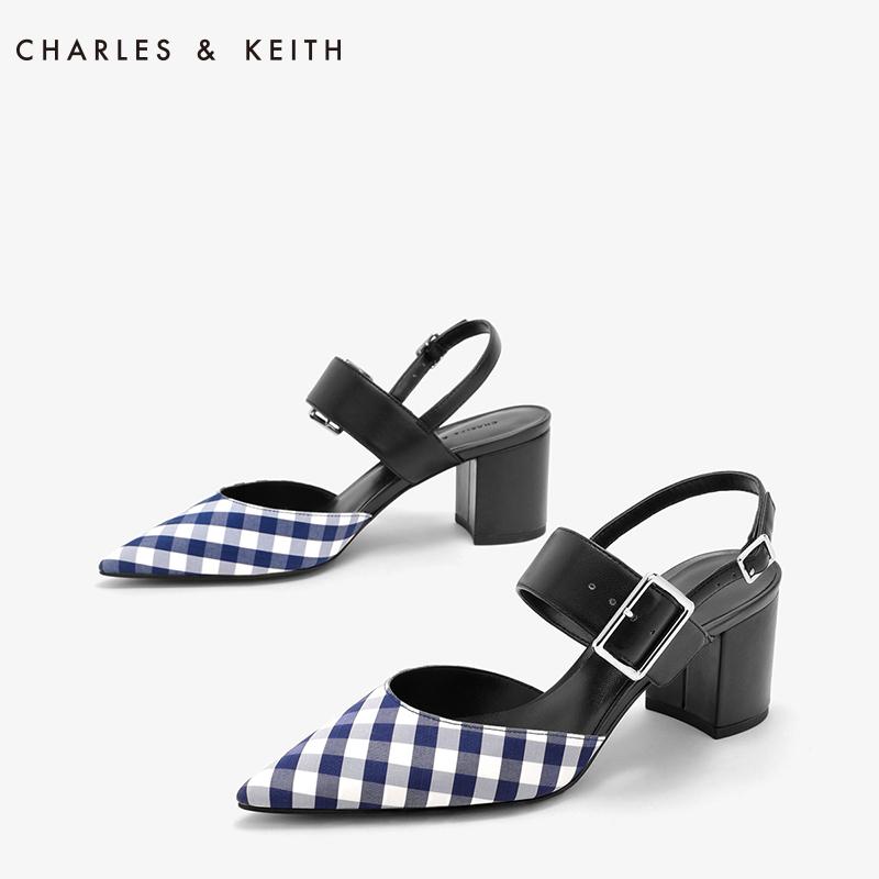 尖头高跟单鞋 CHARLES&KEITH单鞋女CK1-61680001-1欧美尖头格纹扣带粗方高跟鞋_推荐淘宝好看的女尖头高跟单鞋