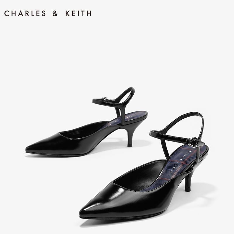 尖头高跟单鞋 CHARLES&KEITH春季单鞋女CK1-60280097尖头一字扣酒杯高跟鞋_推荐淘宝好看的女尖头高跟单鞋
