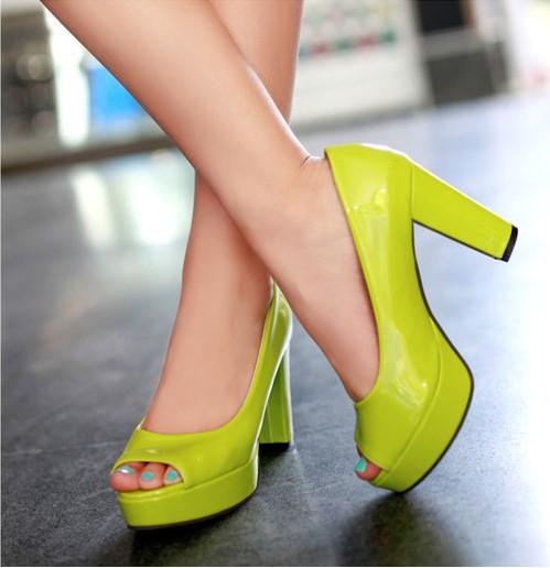绿色鱼嘴鞋 缺码处理 漆皮亮皮鱼嘴鞋粗跟高跟凉鞋 绿色 36码  EML_推荐淘宝好看的绿色鱼嘴鞋