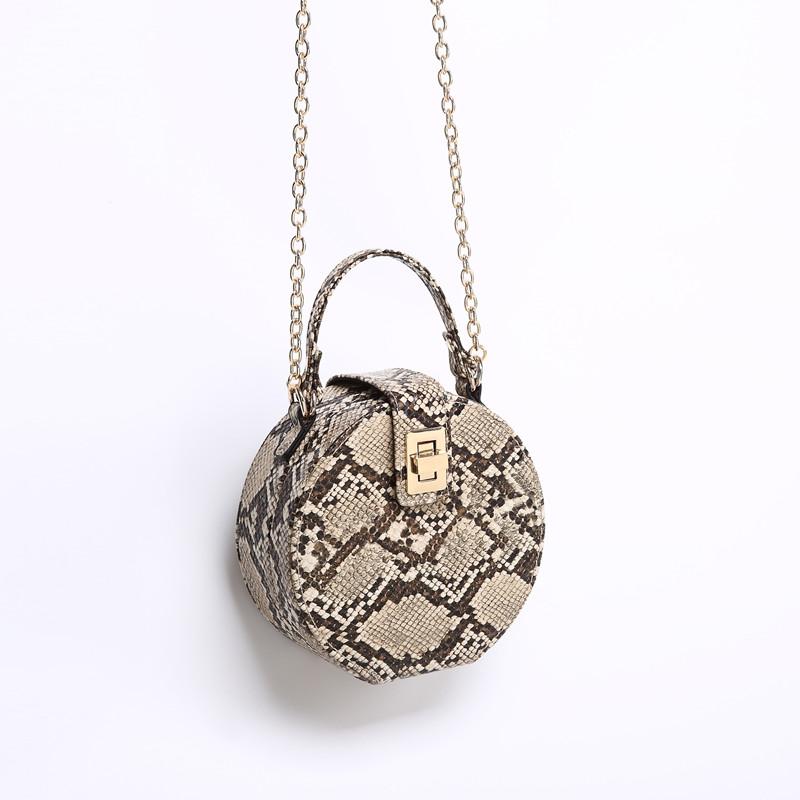 印花手提包 蛇纹包包女2018冬季新款西班牙小众设计小圆包印花盒子包手提包潮_推荐淘宝好看的女印花手提包