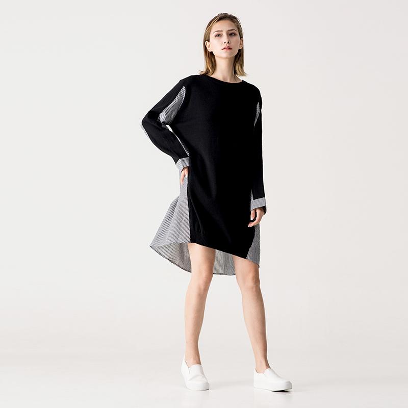 针织衫 SOMNIAA 女士针织衫 2018秋装 撞色拼接针织裙 欧美风简约连衣裙_推荐淘宝好看的女针织衫