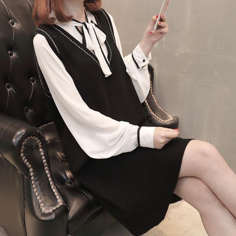 两件套针织衫 衬衫加背心两件套女韩版针织2018新款马甲女学生学院风中长款外套_推荐淘宝好看的女两件套针织衫