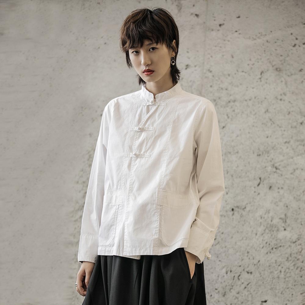衬衫 SIMPLE BLACK 2019早秋新款暗黑盘扣中国风休闲长袖衬衫女_推荐淘宝好看的女衬衫