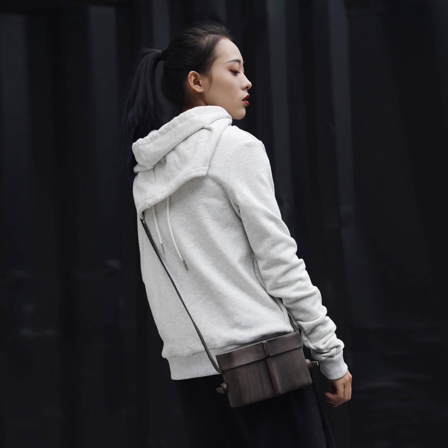 连帽卫衣 SIMPLE BLACK 设计师款简约两面穿卫衣2017新款女上衣外套_推荐淘宝好看的女连帽卫衣