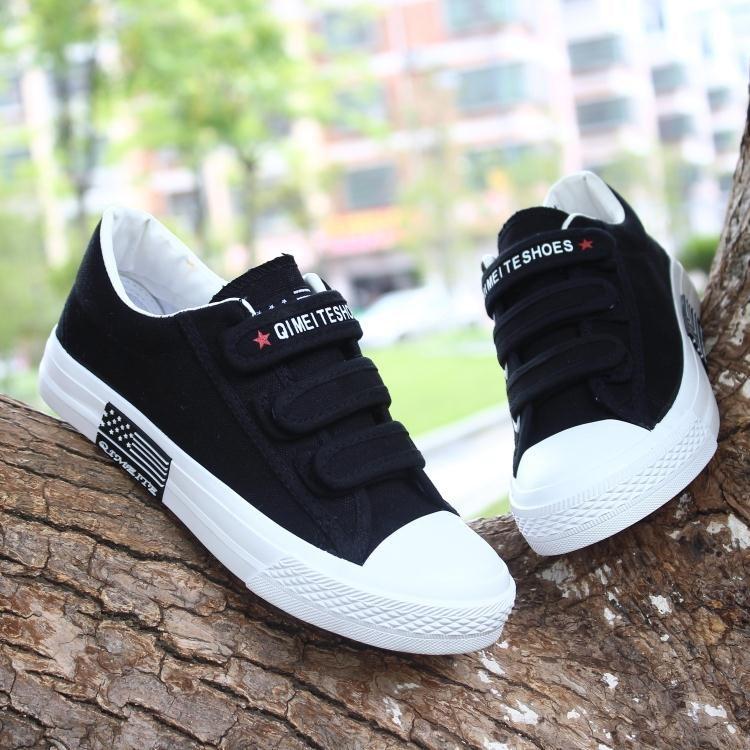 白色帆布鞋 春季白色鞋子女休闲鞋学生小白鞋黑布鞋韩版魔术贴帆布鞋平底板鞋_推荐淘宝好看的白色帆布鞋