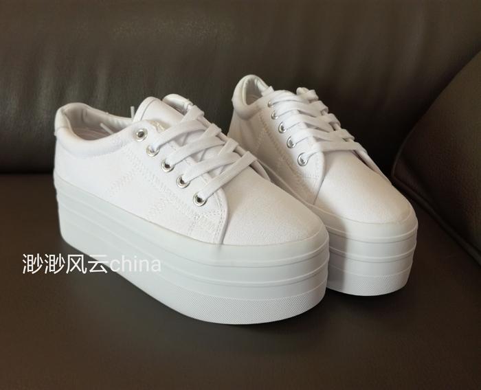 白色松糕鞋 欧美学院风 帆布 白色时尚休闲系带超厚底松糕鞋女运动鞋单鞋_推荐淘宝好看的白色松糕鞋