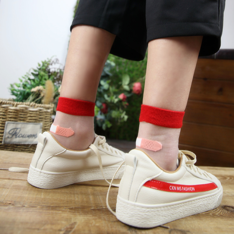 糖果色短丝袜 丝袜女短夏天超薄水晶玻璃丝透明袜防勾丝创可贴耐磨糖果色卡丝袜_推荐淘宝好看的糖果色短丝袜