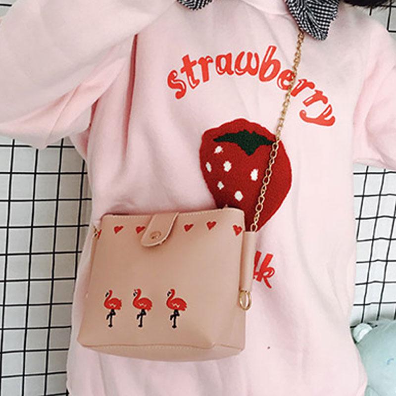 粉红色斜挎包 ins新款少女心小包包皮质火烈鸟刺绣链条包单肩斜挎可爱百搭女包_推荐淘宝好看的粉红色斜挎包