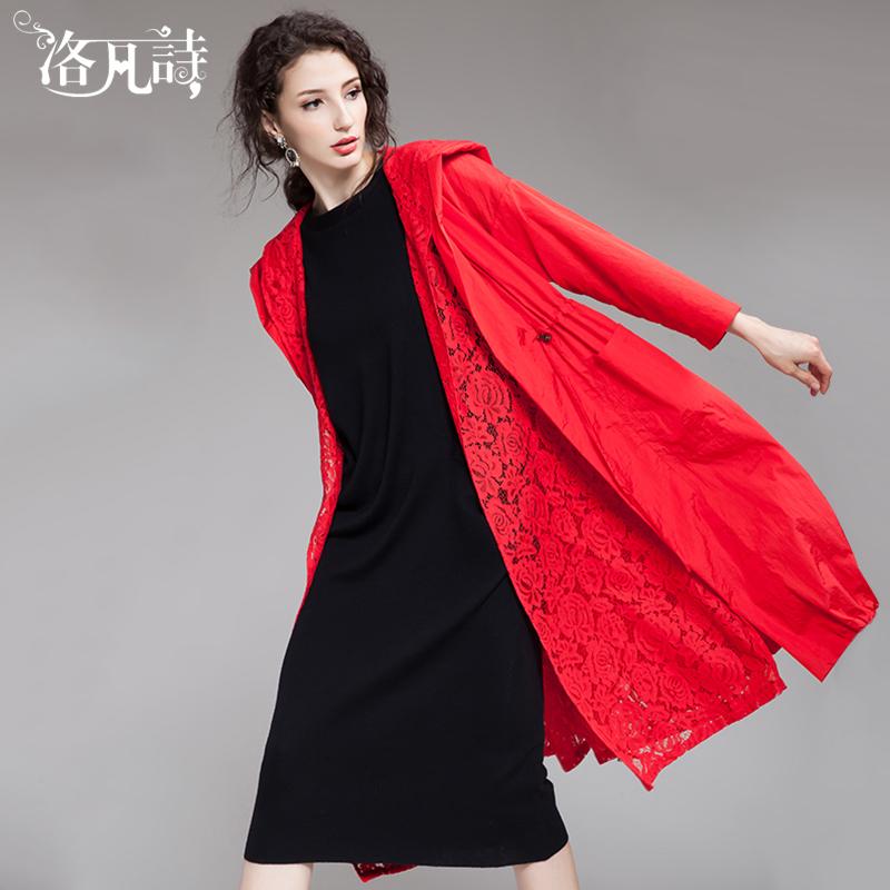 红色风衣 2018春季新款宽松气质抽绳收腰连帽薄款蕾丝红色风衣女外套中长款_推荐淘宝好看的红色风衣