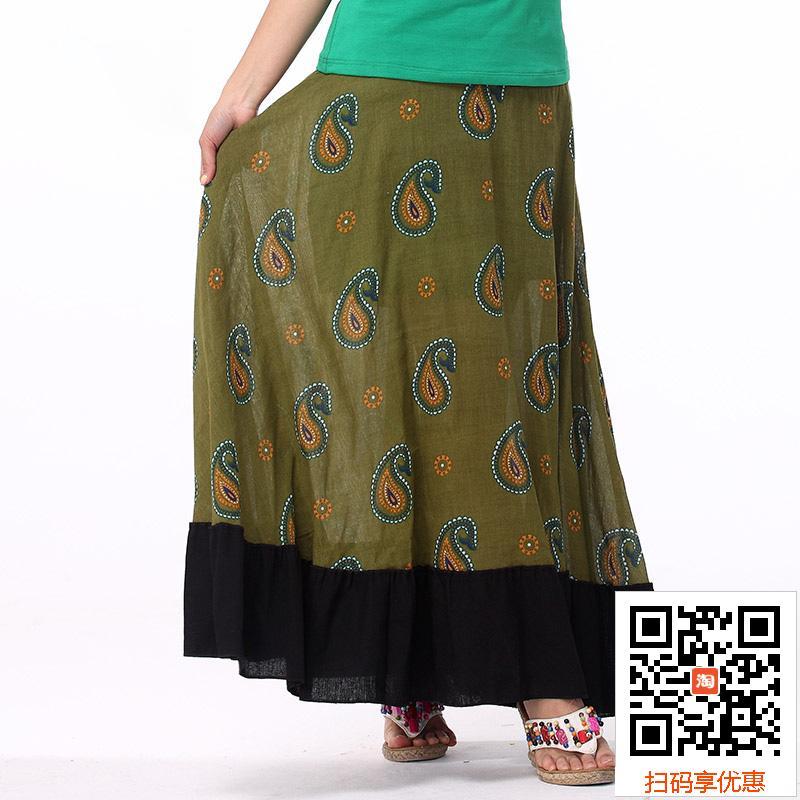 绿色半身裙 清仓不退换民族风长裙波西米亚半身裙半身长裙大摆裙中国风女装_推荐淘宝好看的绿色半身裙