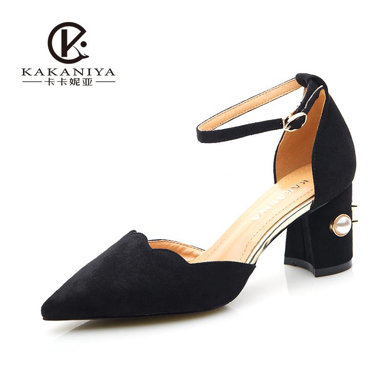 女高跟鞋 卡卡妮亚一字扣单鞋女温柔风尖头中空鞋时尚珍珠高跟鞋女粗跟百搭_推荐淘宝好看的女高跟鞋