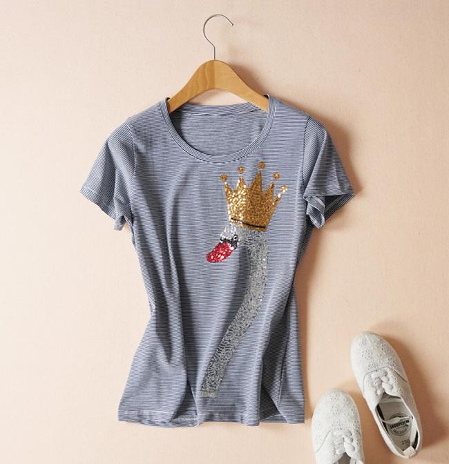 圆领t恤 精心设计 18夏款 减龄萌趣皇冠天鹅亮片图案显瘦圆领棉短袖T恤女_推荐淘宝好看的女圆领t恤