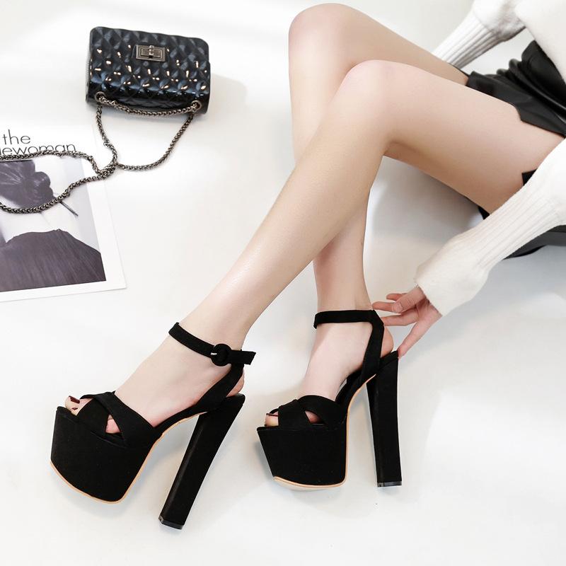 黑色凉鞋 夏性感黑色恨天高18cm20公分超高跟防水台粗跟走秀夜店高跟女凉鞋_推荐淘宝好看的黑色凉鞋