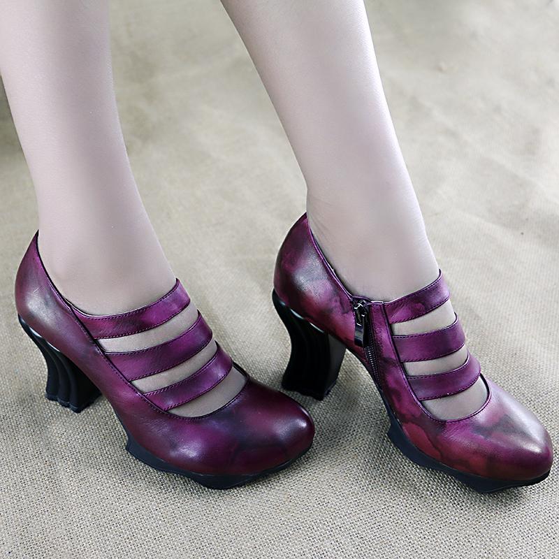 紫色高跟鞋 风美嵩情原创 民族风女鞋春 高跟复古手工原创单鞋女真皮 紫色_推荐淘宝好看的紫色高跟鞋