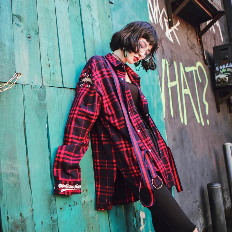 红格子衬衫 bf风潮牌设计秋装中长款红色oversize宽松格子衬衫外套女长袖_推荐淘宝好看的女红格子衬衫