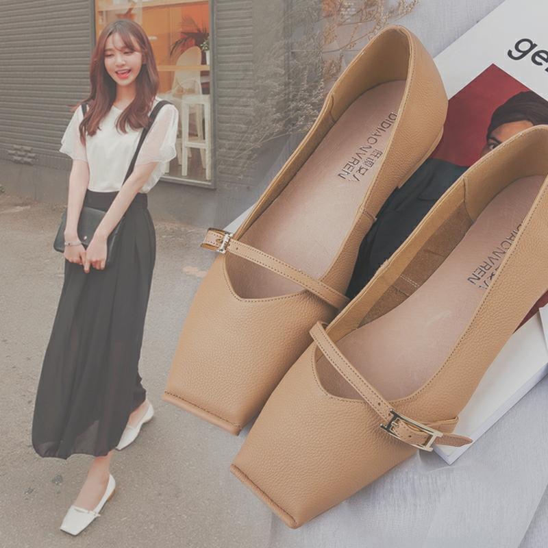 粉红色单鞋 2017新品黄色驼色粉红色米白色复古方头鞋一字扣单鞋真皮平底鞋女_推荐淘宝好看的粉红色单鞋