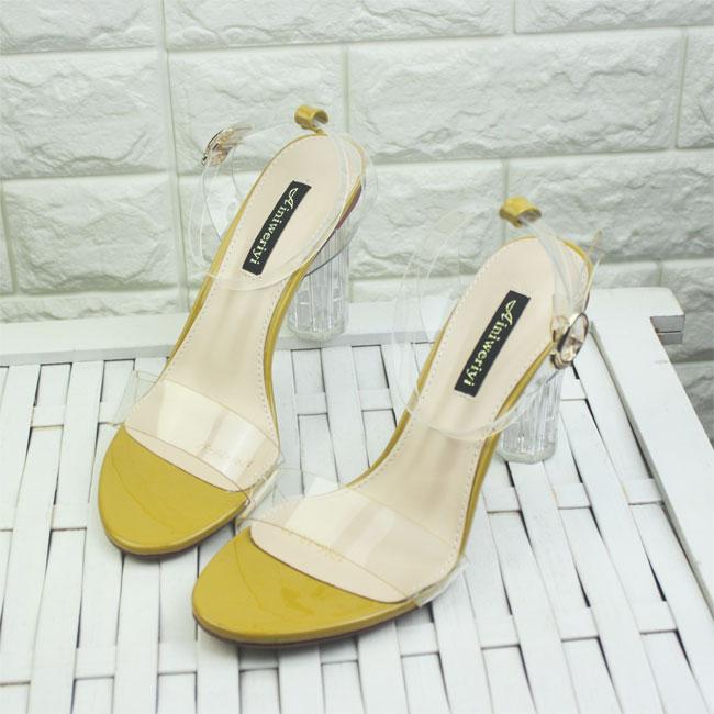 黄色鱼嘴鞋 透明露趾水晶跟黄色性感高跟夜店公主一字扣带女凉鞋粗跟舒适单鞋_推荐淘宝好看的黄色鱼嘴鞋