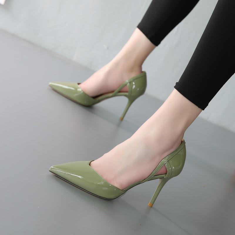 绿色凉鞋 欧美女鞋2018新款凉鞋女细跟性感百搭包头绿色中空单鞋高跟鞋夏季_推荐淘宝好看的绿色凉鞋