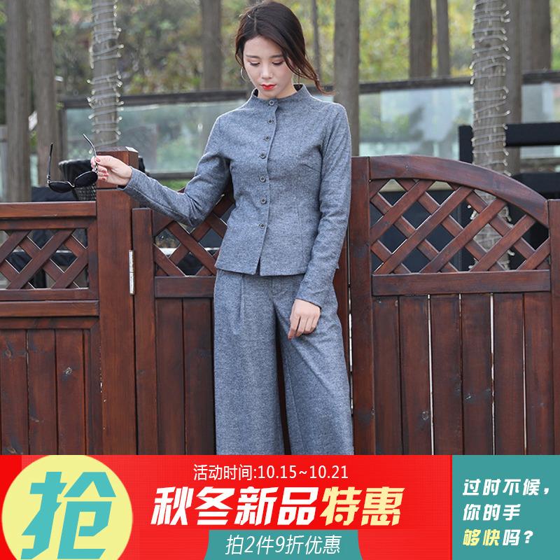 套装 2018秋装新款灰色中国风复古羊毛呢套装女毛呢外套+阔腿裤长裤_推荐淘宝好看的套装