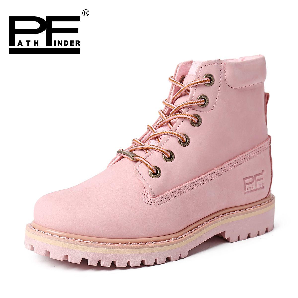 粉红色高帮鞋 春季PF女鞋真皮马丁靴女靴子粉红色厚底工装靴女情侣短靴女高帮鞋_推荐淘宝好看的粉红色高帮鞋