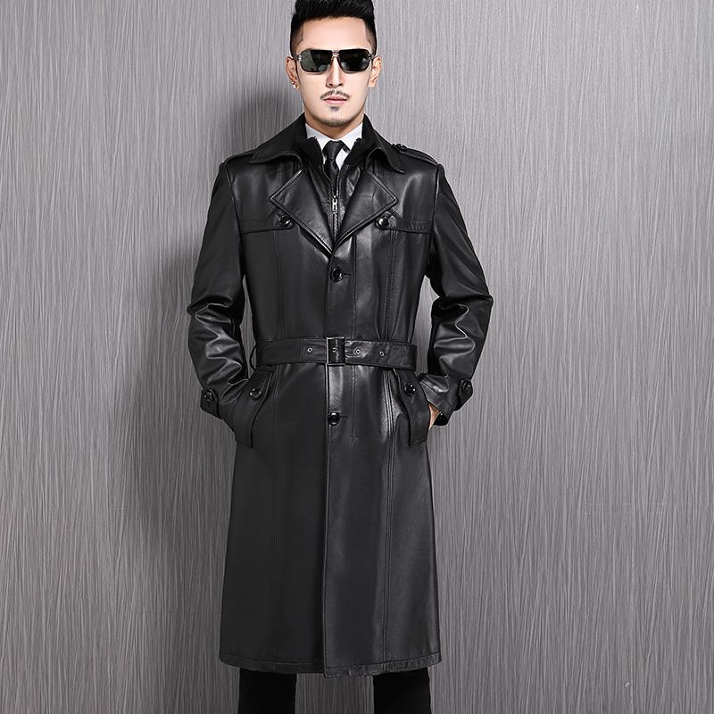 男士长款皮衣 海宁新款真皮皮衣男风衣西装领男士长款绵羊皮大衣修身薄款外套潮_推荐淘宝好看的男长款皮衣