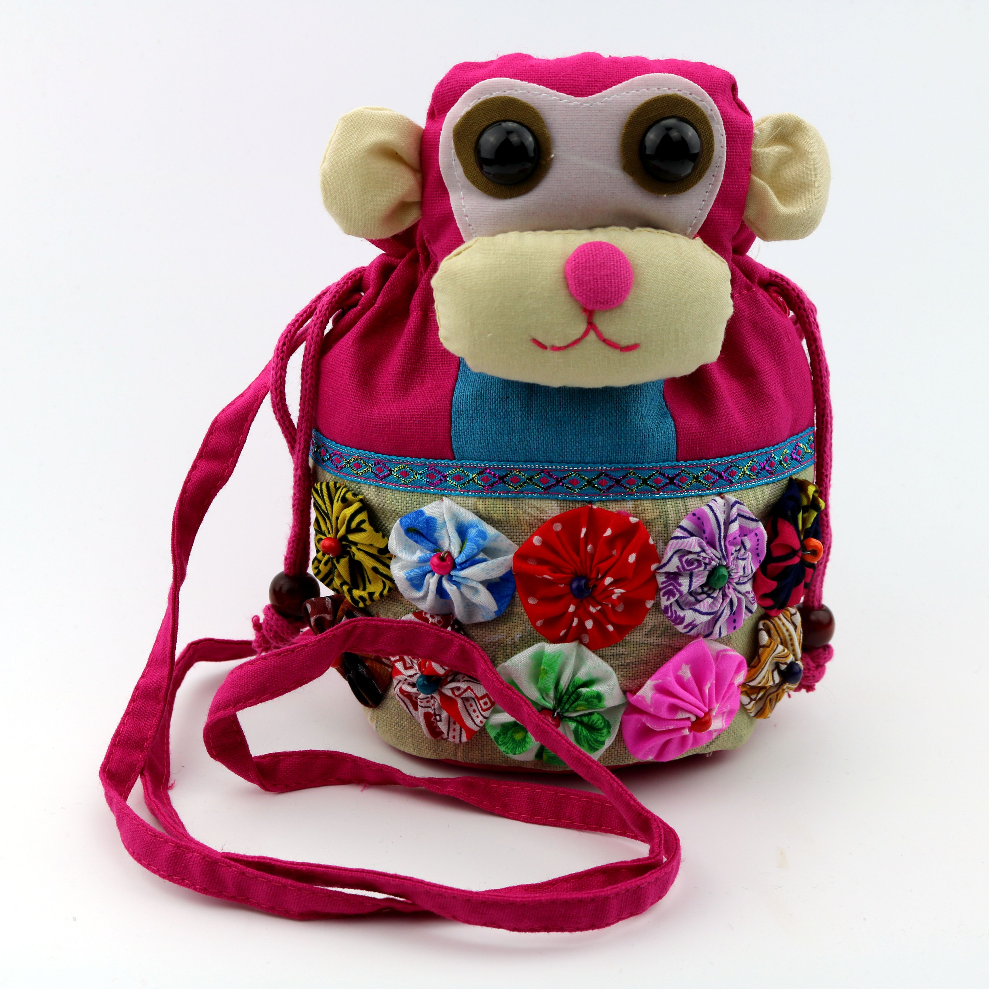 女士单肩斜挎包 民族包动物图案帆布小猴子休闲动物形软把拼接是单肩斜挎女士包袋_推荐淘宝好看的女女单肩斜挎包