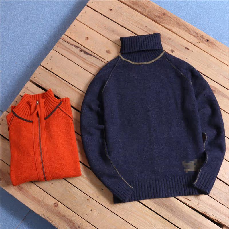 欧美男士高领毛衣 欧美复古高领线条细针织羊毛毛衣K2-Y864男_推荐淘宝好看的欧美男高领毛衣