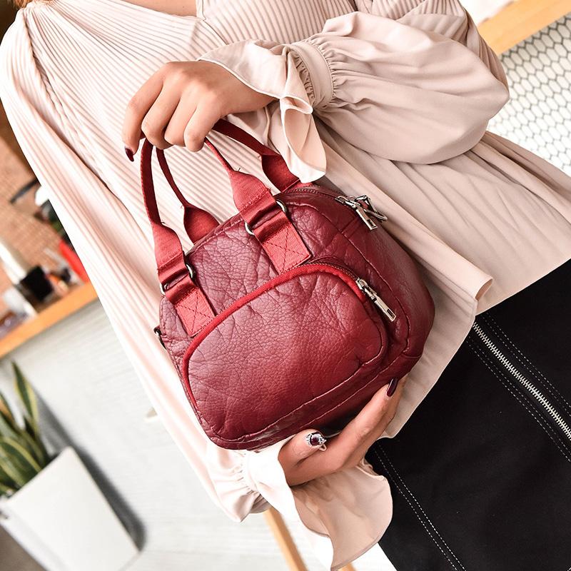 红色单肩包 女士包包2018新款时尚手提包女软皮纯色水洗皮红色复古单肩包两用_推荐淘宝好看的红色单肩包