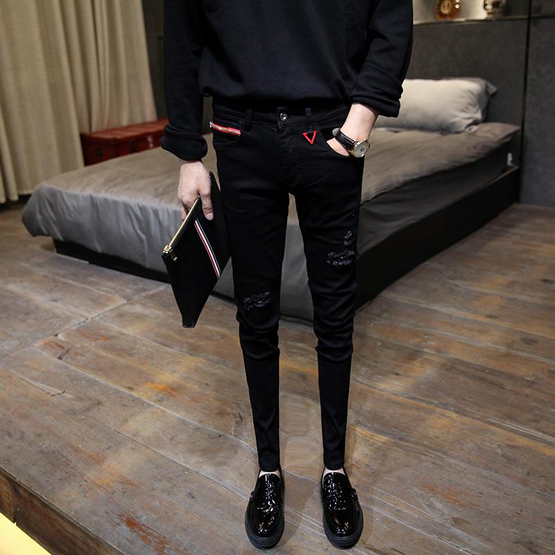 男士修身牛仔裤 时尚原创破洞贴布牛仔裤男士18秋季新款黑色个性青年修身小脚裤潮_推荐淘宝好看的男修身牛仔裤
