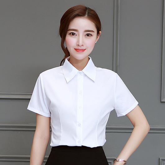 短袖衬衫 韩版棉白色女衬衫短袖夏装半袖工作服正装工装大码衬衣职业女装ol_推荐淘宝好看的女短袖衬衫