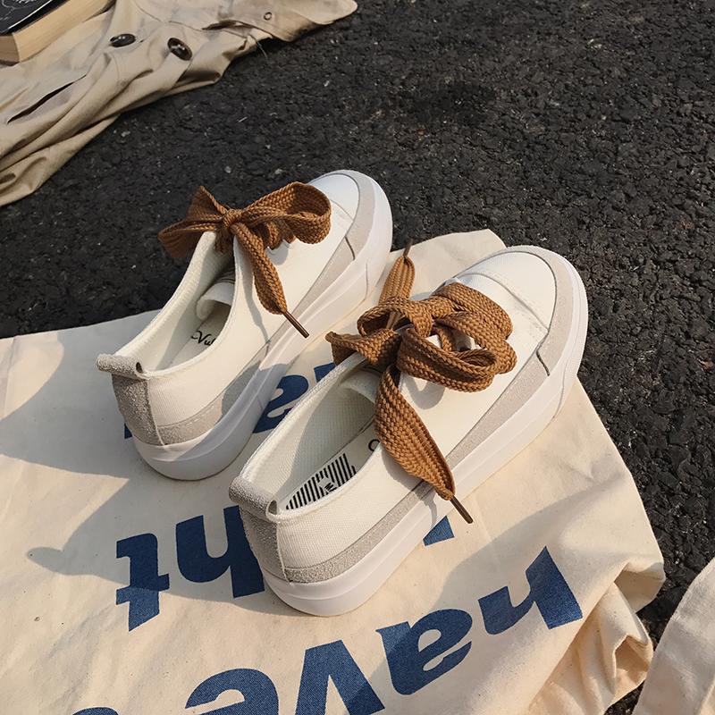 白色帆布鞋 白色帆布鞋女2018新款学生韩版ulzzang潮百搭原宿丑鞋港风小白鞋_推荐淘宝好看的白色帆布鞋