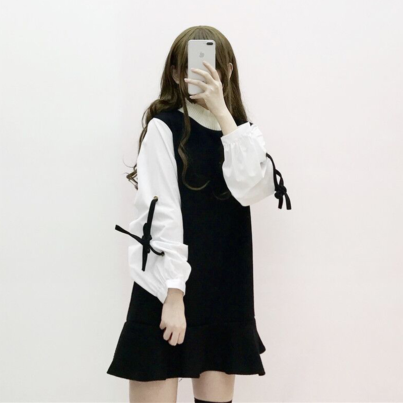 黑色连衣裙 秋装女2018新款时尚甜美袖口系带拼接撞色高领长袖连衣裙潮裙子萌_推荐淘宝好看的黑色连衣裙