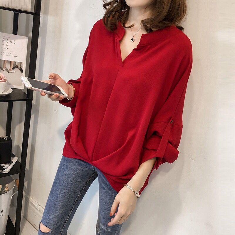红色衬衫 大码女装中长款衬衫秋季新款韩版胖mm宽松简约长袖t恤纯色打底衫_推荐淘宝好看的红色衬衫