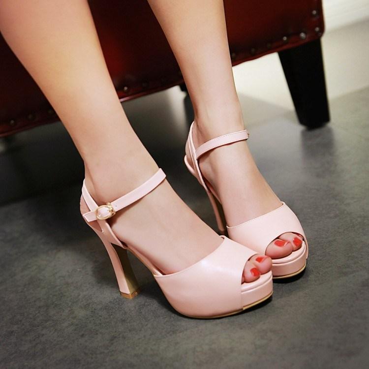 粉红色鱼嘴鞋 春夏米色白色粉红色鱼嘴婚鞋超高跟小码凉鞋 32 33 大码凉鞋 QM_推荐淘宝好看的粉红色鱼嘴鞋
